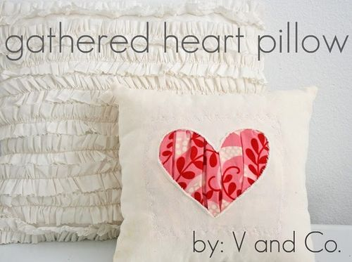 Gathered heart pillow