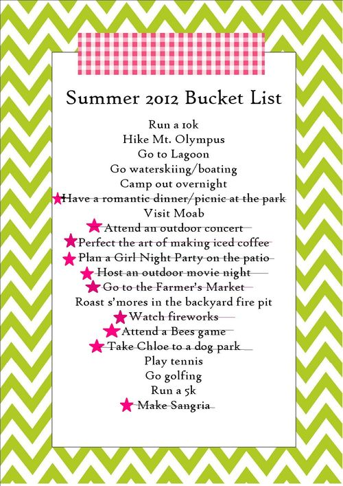 Summer bucket list update 1